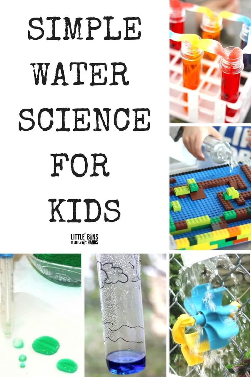 Quick water science experiments and activities kids will love. Preschool science, kindergarten science, and early elementary ages science activities using water and other common supplies. Free or nearly free science for kids is a budget friendly way to try science at home or in the classroom. We love simple science experiments and STEM activities and using water makes science extra fun and playful for kids