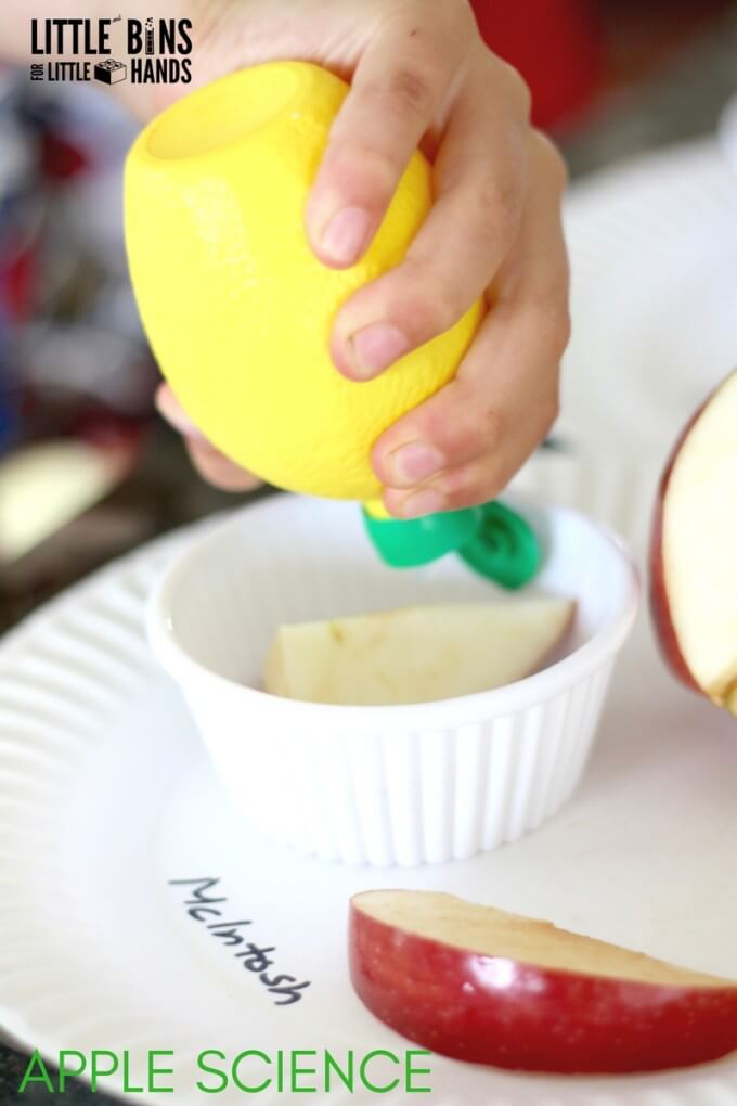 Apple Science Experiment with Lemon Juice