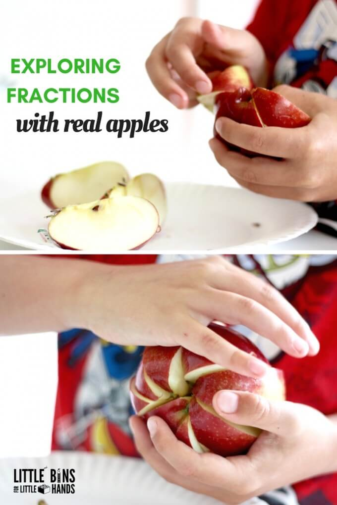 Apple Fractions Math with Real Apples and Printable Sheet