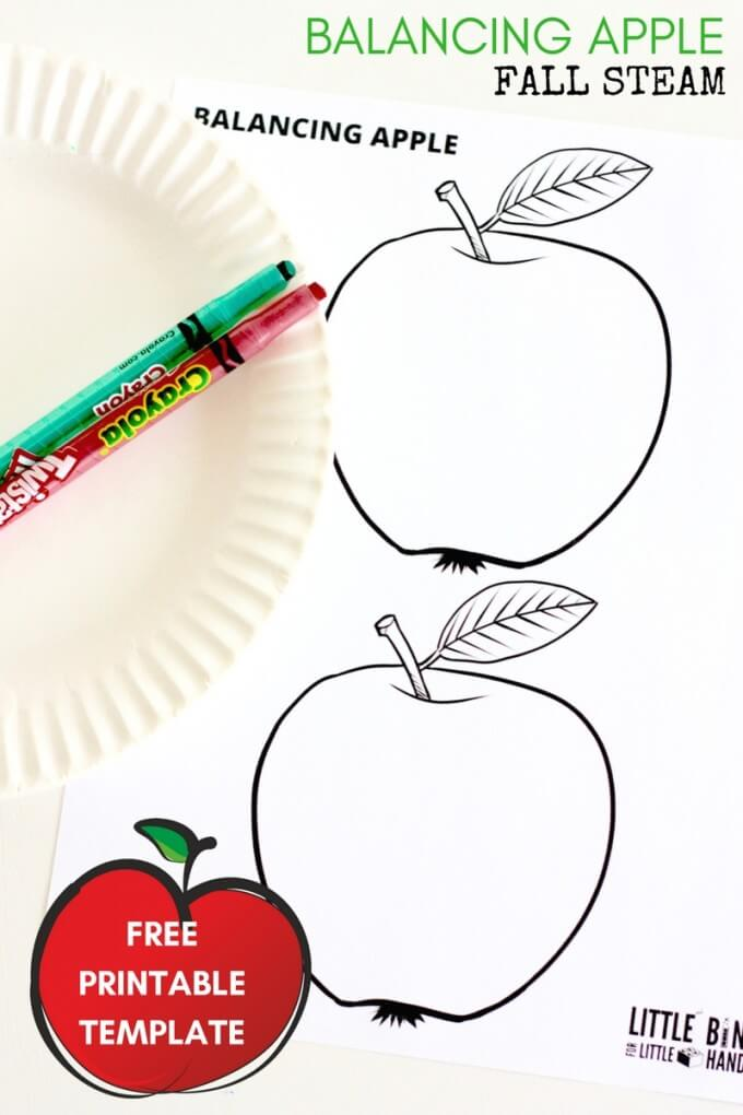 Balancing Apple Free Printable Template Fall STEAM