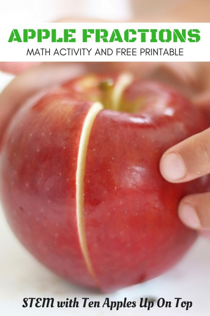 Apple Fractions Fall Math STEM Activity for Kids With Free Printable