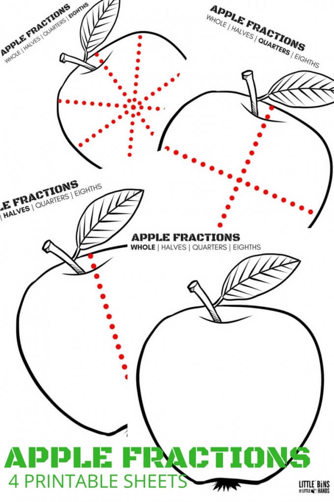 Apple Fractions Math Printable Sheets