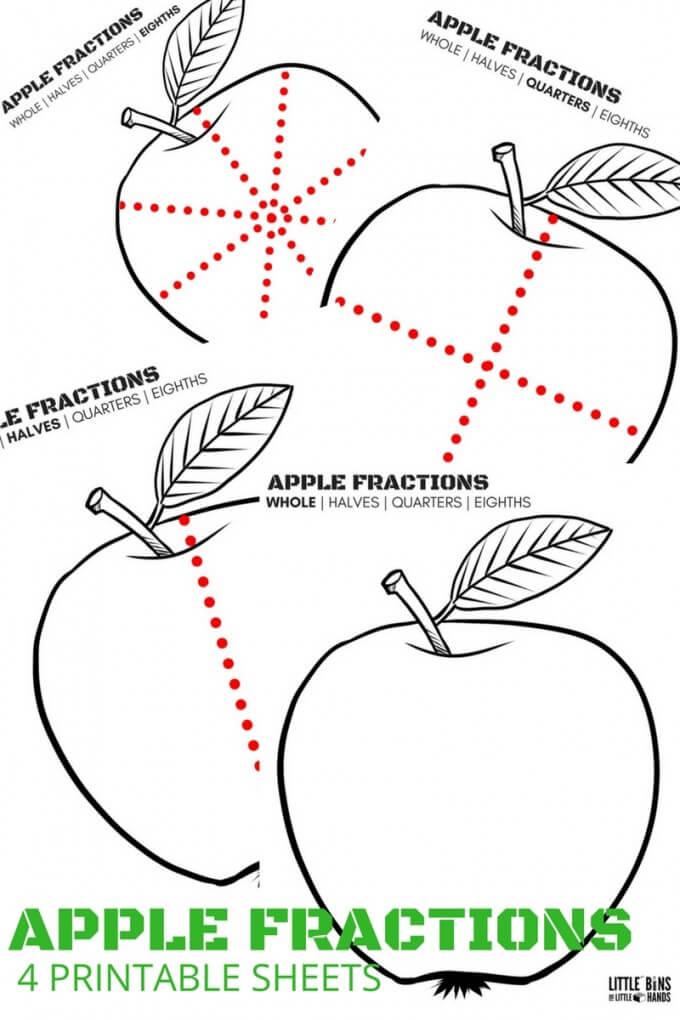 Apple Fractions Math Printable Sheets