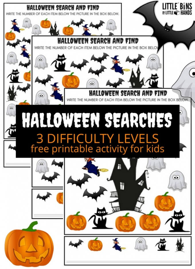Halloween Searches Printables Search and Find Halloween Math