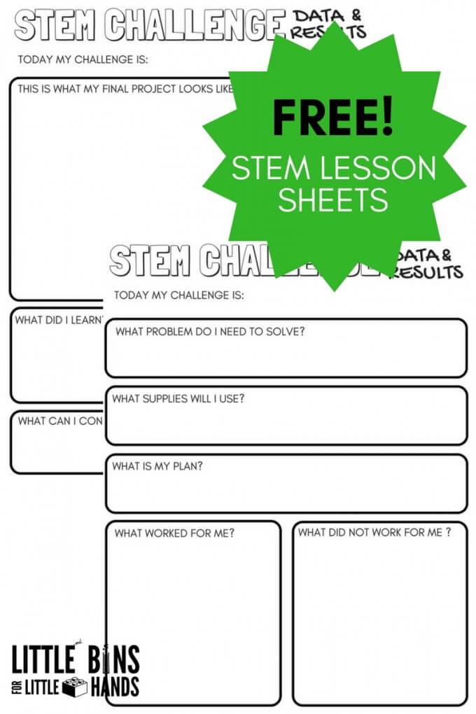 STEM Challenge Worksheets FREE Printable Little Bins for Little