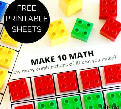 Ten Frame Math Activity with Duplo {Free Printable Sheets}