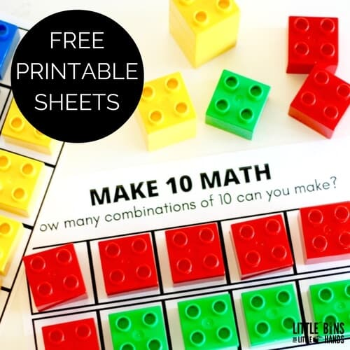 image relating to Making 10 Games Printable identified as 10 Body Math Sport with Duplo Totally free Printable Sheets