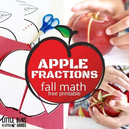 apple fractions math fall theme activity with printable apple sheet