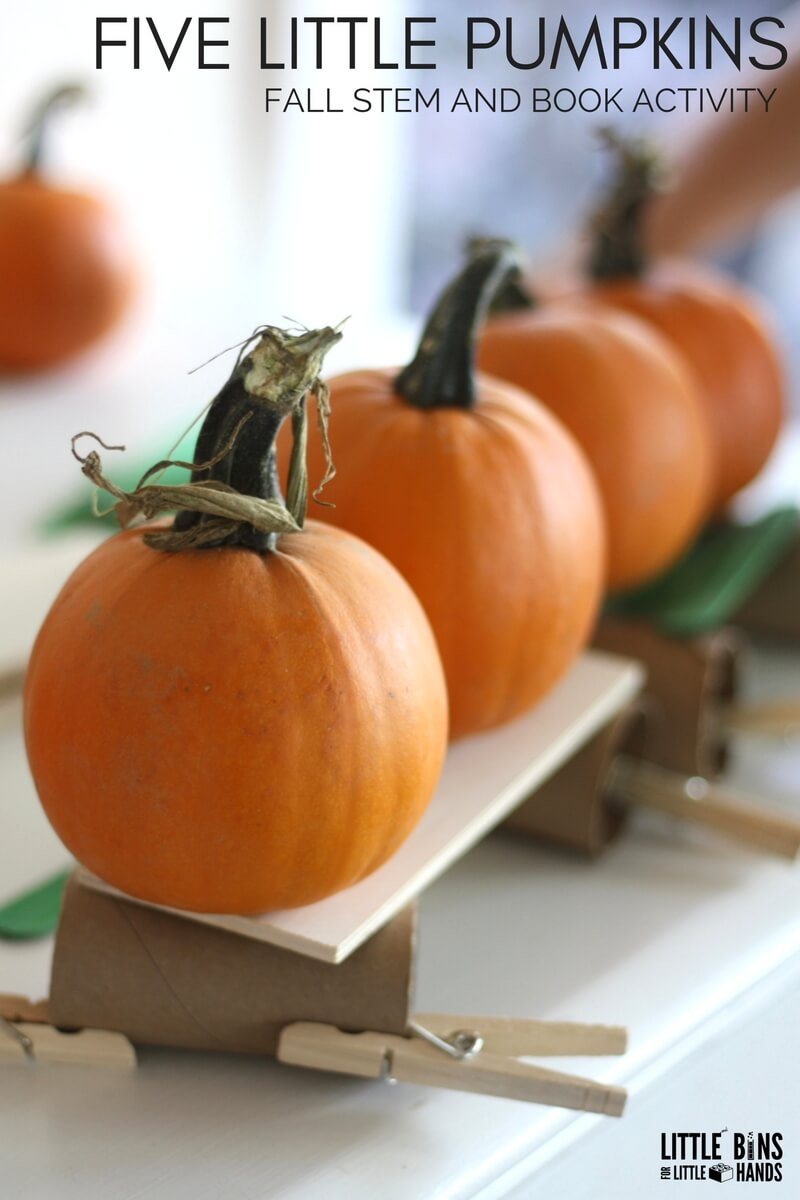 image about Five Little Pumpkins Printable called 5 Very little Pumpkins STEM Issue Minimal Packing containers for Tiny