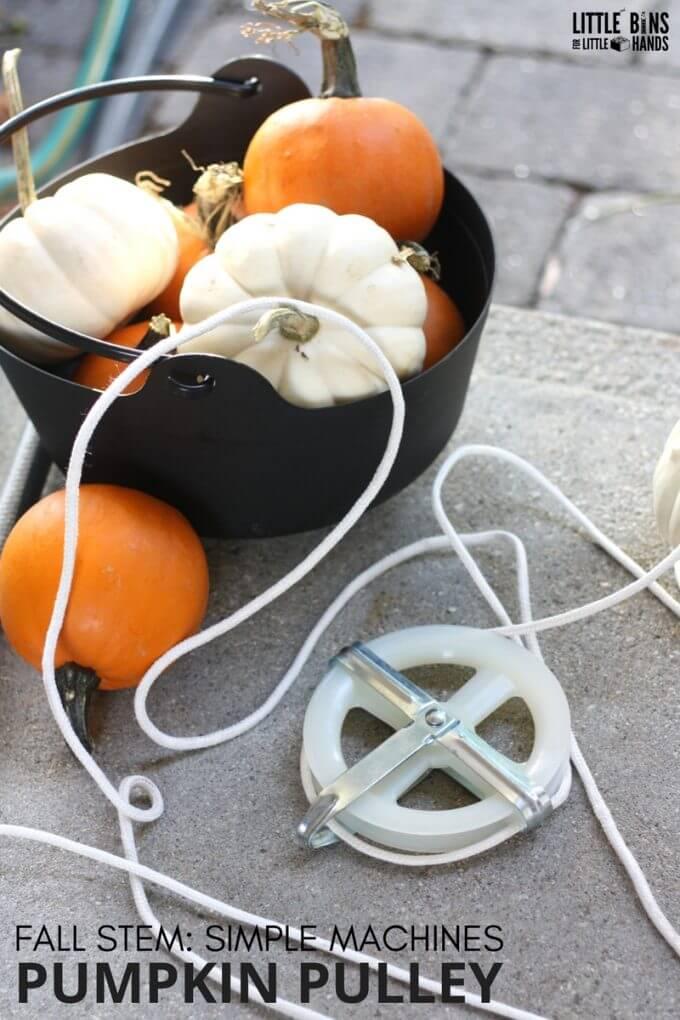 Pumpkin Pulley Simple Machine for Kids Fall STEM Ideas