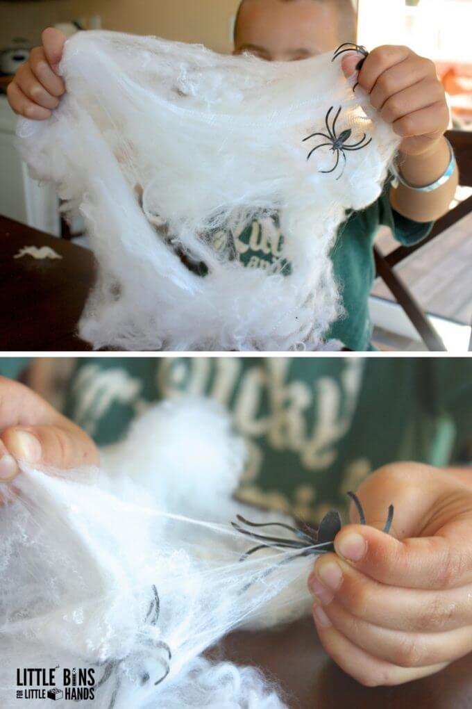Spiderwebs fine motor activity using fake cobwebs for fine motor skills