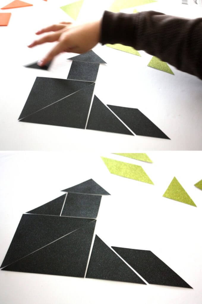 Making Halloween Tangram Puzzles Haunted House