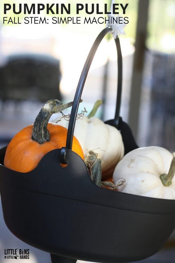 Fun fall STEM with a cauldron and pumpkin pulley simple machine