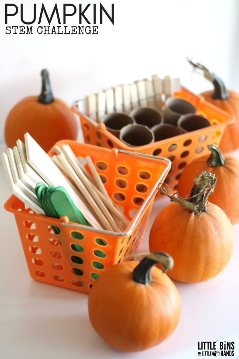 Five Little Pumpkins Stem Challenge Little Bins For
