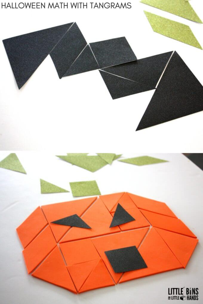 Halloween Tangrams Math Activity Bat Pumpkin Puzzle