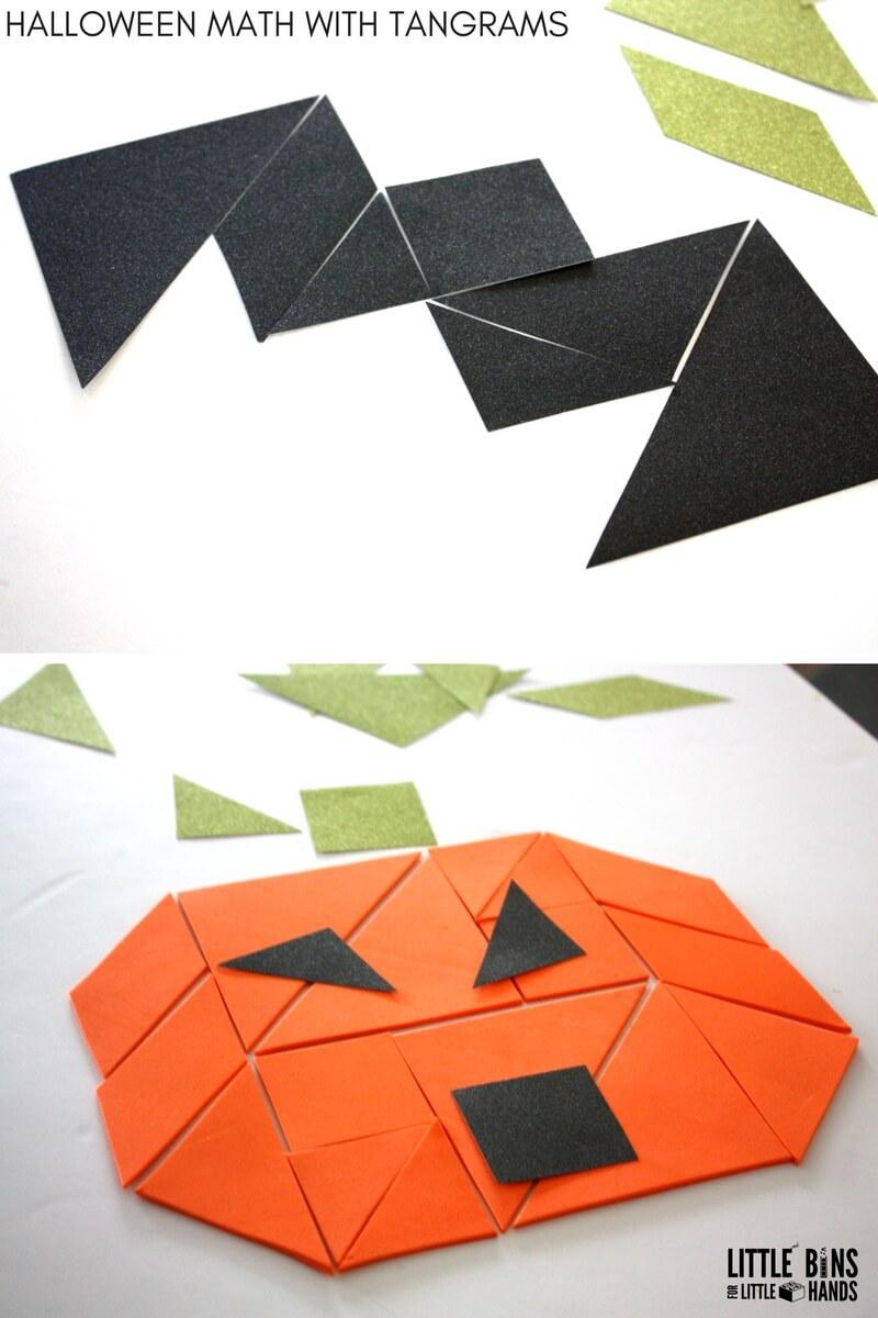 Worksheet Math Tangrams halloween tangrams math activity little bins for hands bat pumpkin puzzle