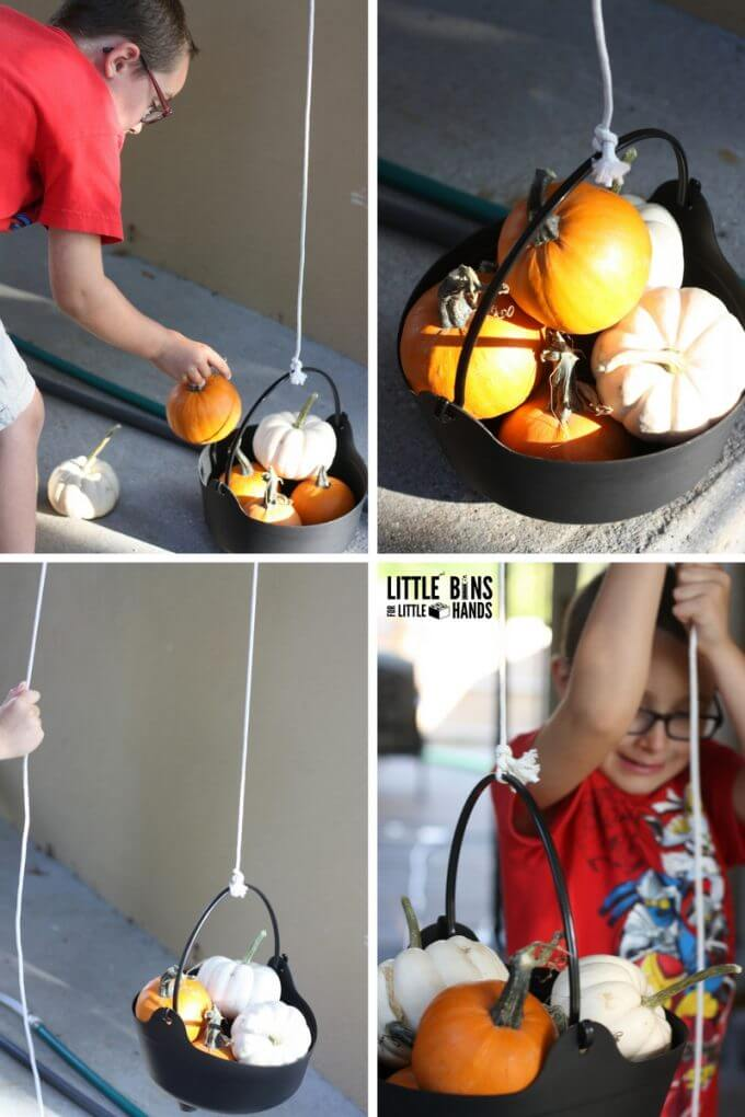 Playing and Learning with a Pumpkin Pulley Simple Machine