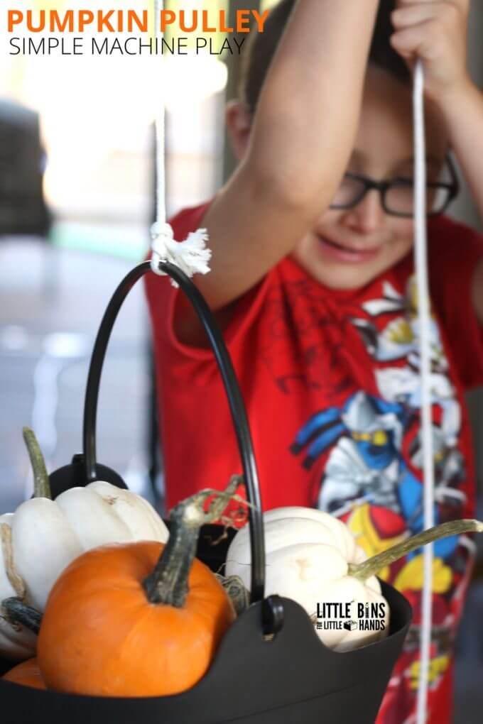 Fall and Halloween STEM with a Pumpkin Pulley Machine