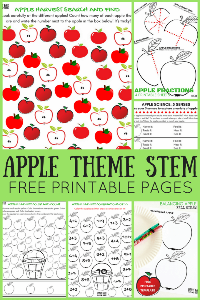 Apple theme worksheets and apple STEM activities for kids. Free printable apple science pages and activities for fall science and STEM activities.