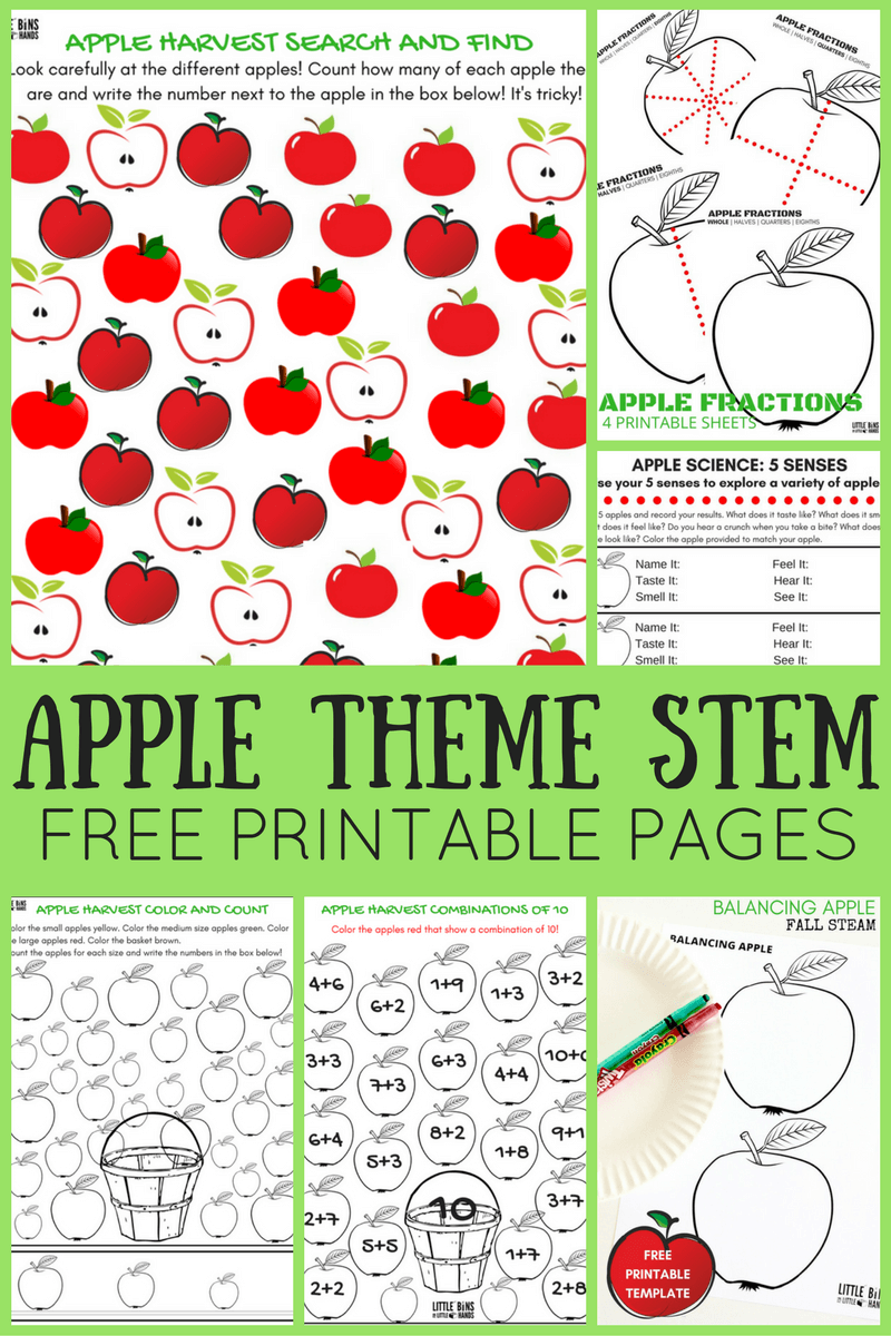 picture relating to Free Printable Apple Worksheets called Apple Worksheets For Preschool Tiny Containers for Minimal Arms