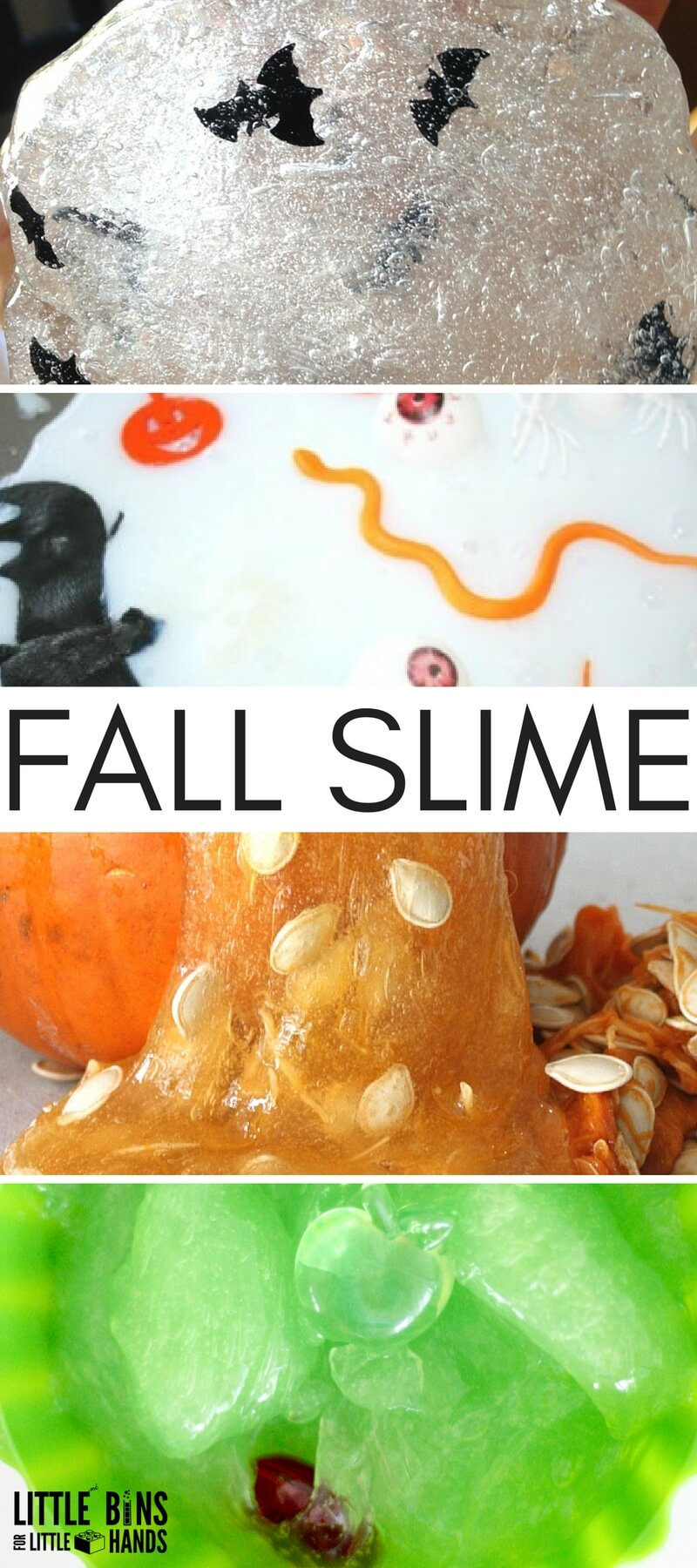 Fall slime ideas for pumpkin slime, apple slime, and Halloween slime recipe ideas for kids!