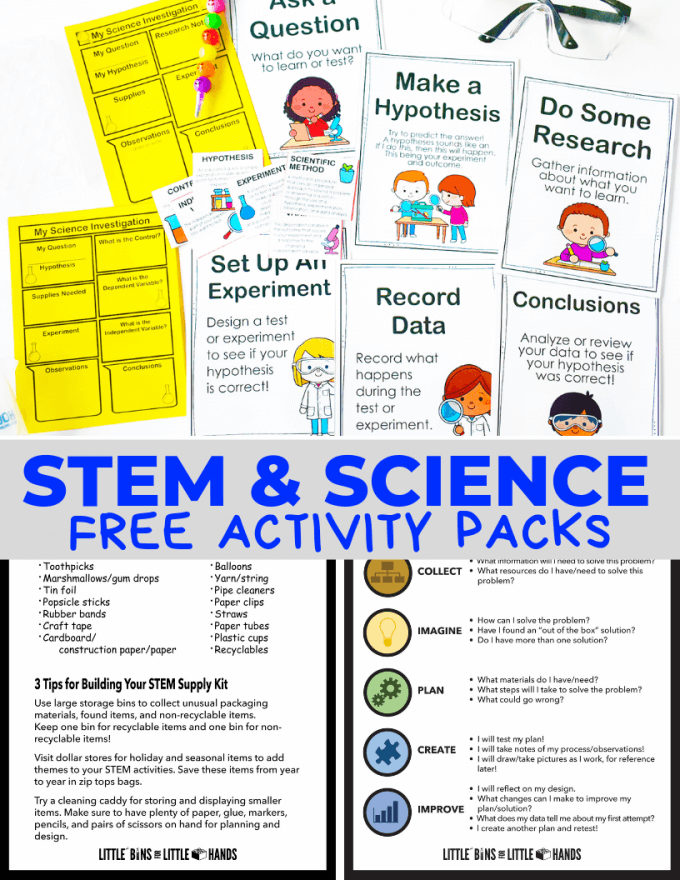 Free STEM worksheets and Science Process Pack for Kids