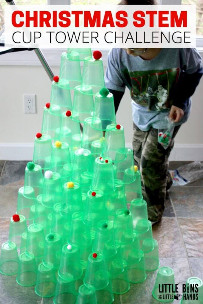this christmas cup tower stem is a great science experiment for kids one of the