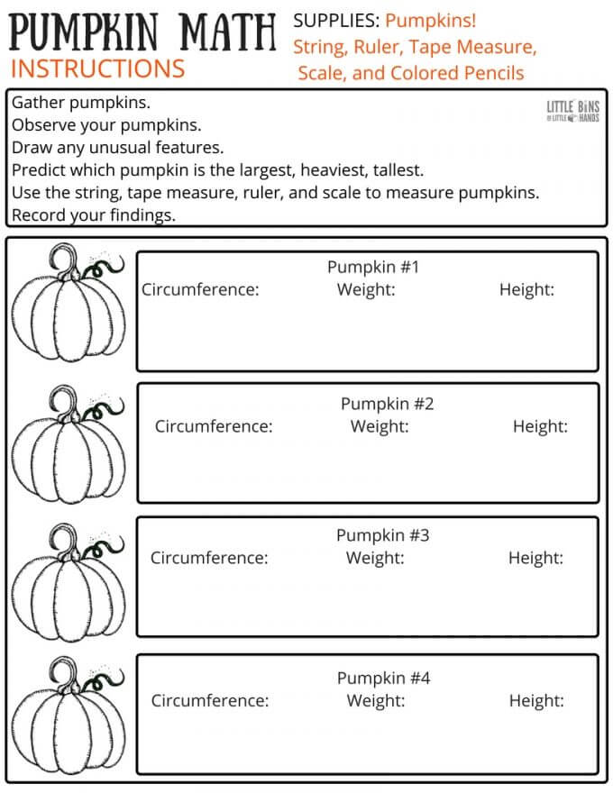 Free Pumpkin Math Worksheet Page 1