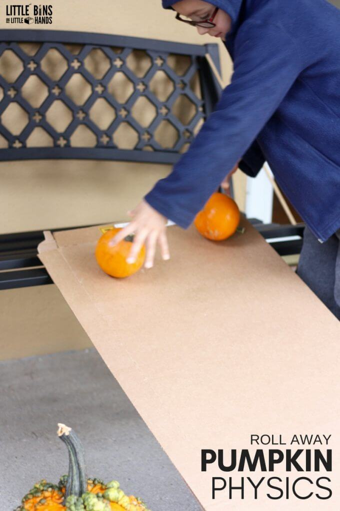 Pumpkin Rolling with Homemade Ramps for Kids Physics