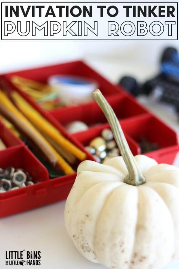 Pumpkin Robot Tinkering Project for Kids Fall STEM