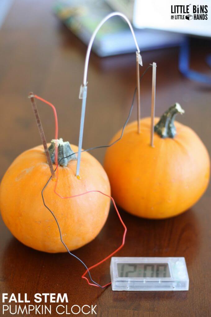 Pumpkin Clock for Fall STEM Using Potato Clock Kit