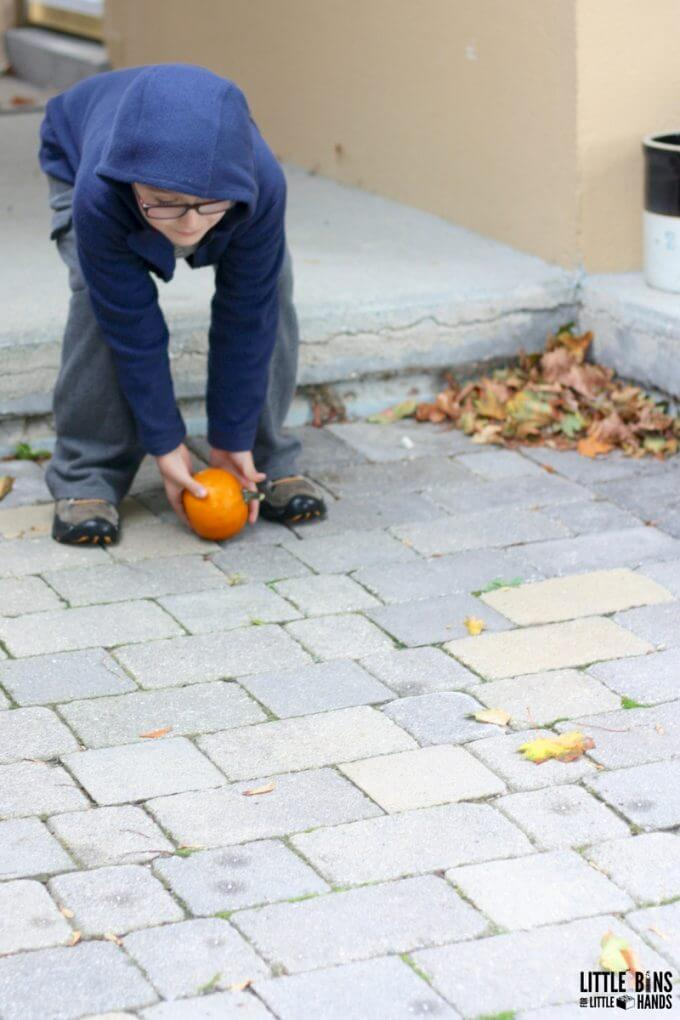 Pumpkin Rolling Outdoor Science Activity