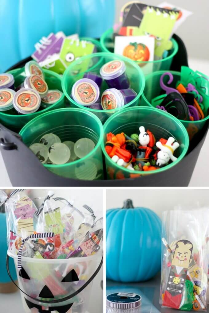 Candy free goodie bags and non candy treat bucket for Halloween