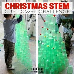 This Christmas cup tower STEM is a great science experiment for kids! One of the simplest experiments for kids to try this holiday season!