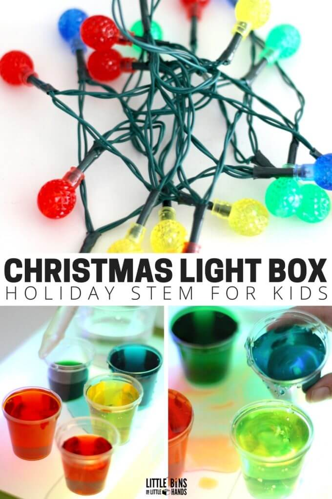 Christmas Science Light Box Homemade Light Table for Christmas STEM