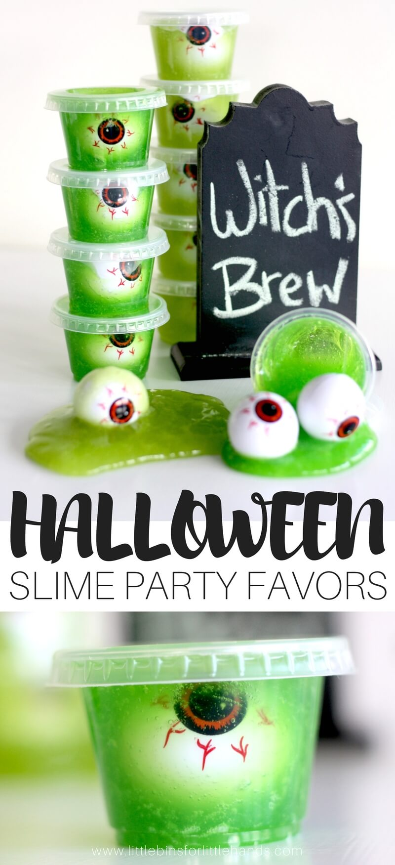 Halloween candy free slime party favors for kids to make and take! Fun candy free halloween slime activity treat for Halloween parties too! We have tons of Halloween slime ideas and Halloween slime recipes for kids!