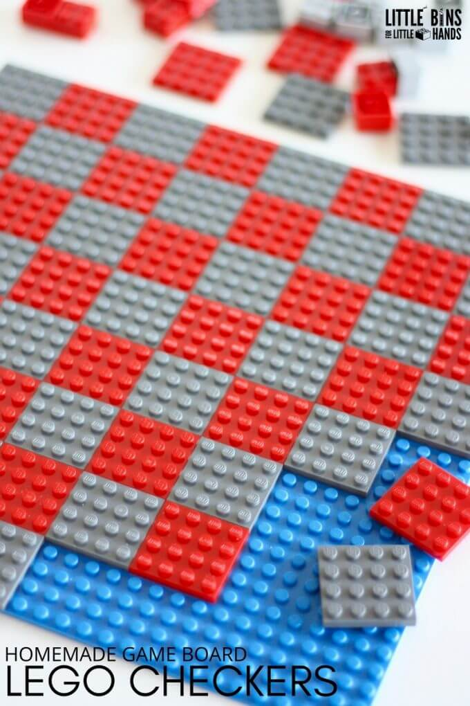 DIY Homemade LEGO Checker board for kids and adults to make