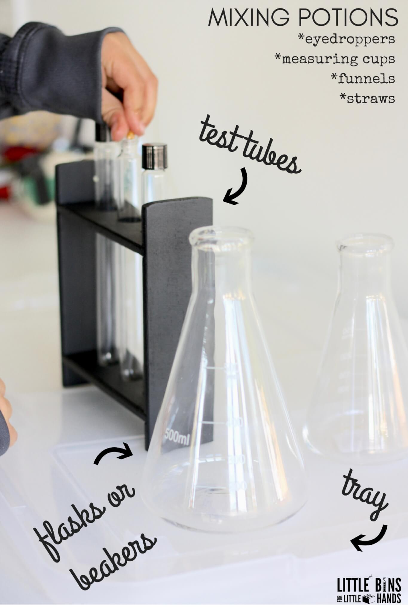 Mixing Potions Science Activity Table for Kitchen Chemistry