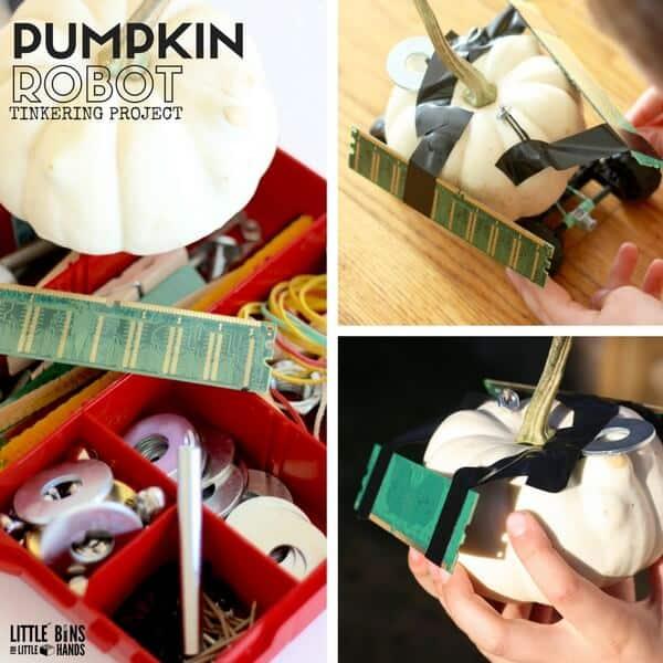 Pumpkin Robot Tinkering Project for Kids Fall STEM Ideas