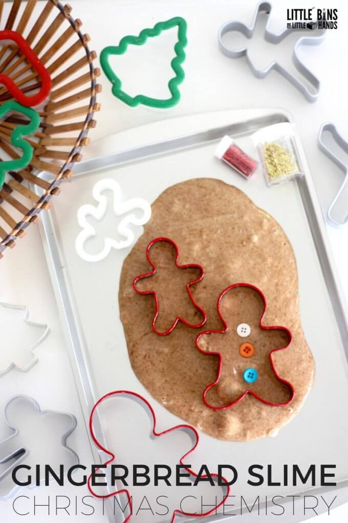 Scented gingerbread slime recipe and gingerbread science activity for kids homemade Christmas!