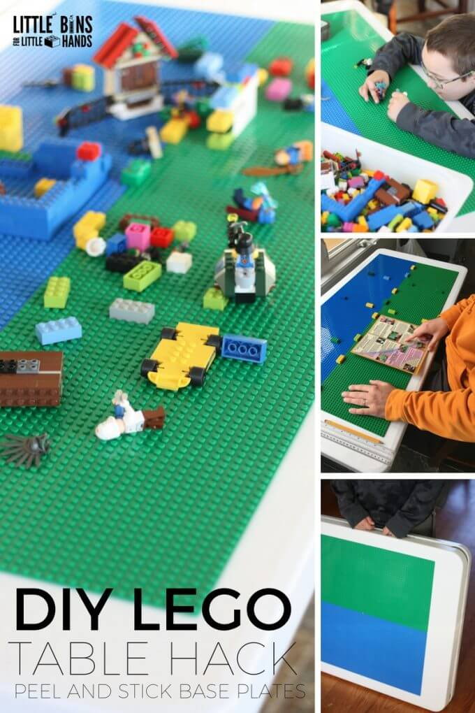 DIY Folding LEGO table hack for Kids! Make a homemade LEGO table with these awesome peel and stick base plates.