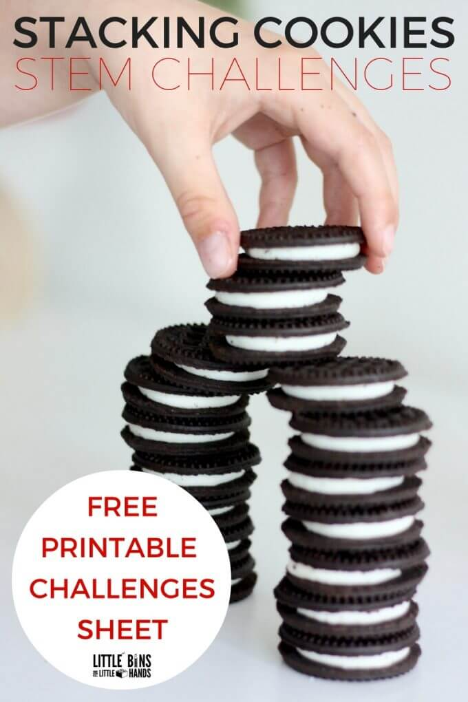 Stacking Cookies STEM Challenges for Kids! Stack cookies for Santa and try out this cool cookie engineering activity with a free printable list of cookie STEM challenges.