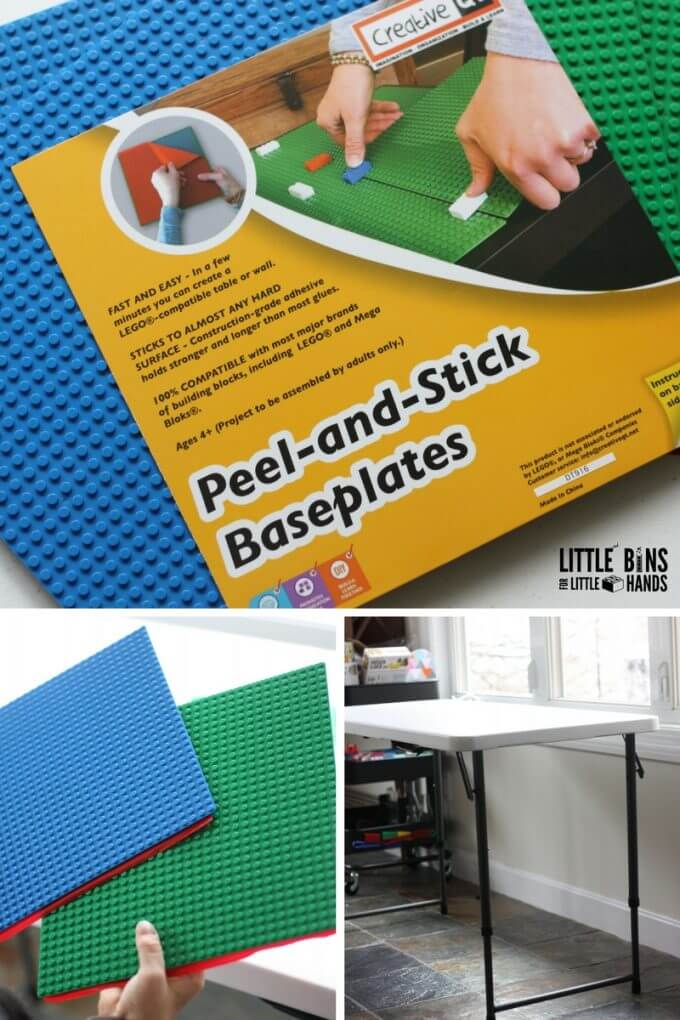 CreativeQT Peel and Stick Base Plates with a folding table for a DIY LEGO Table