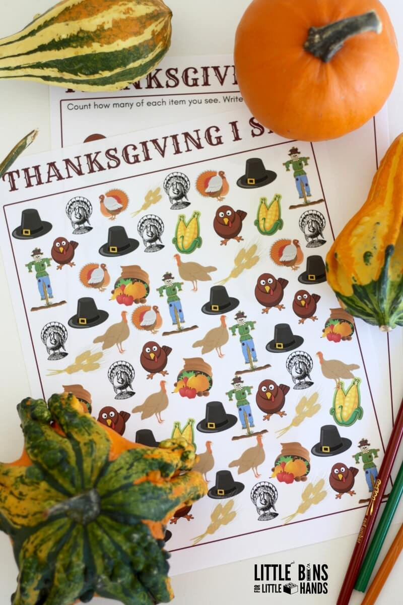 thanksgiving printable counting activity search and i spy