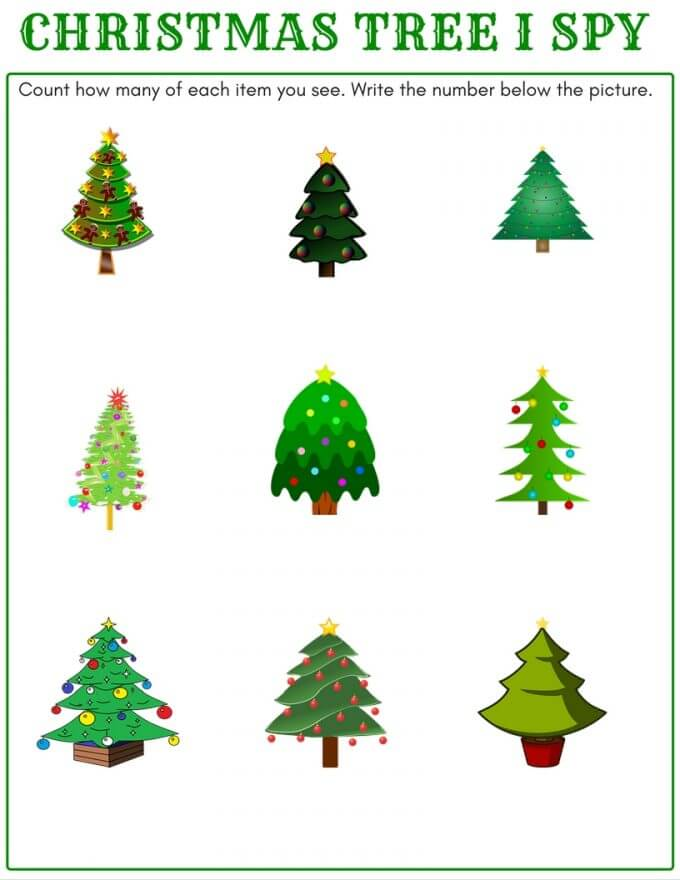 I Spy Christmas Tree Counting Math Activity For Kids