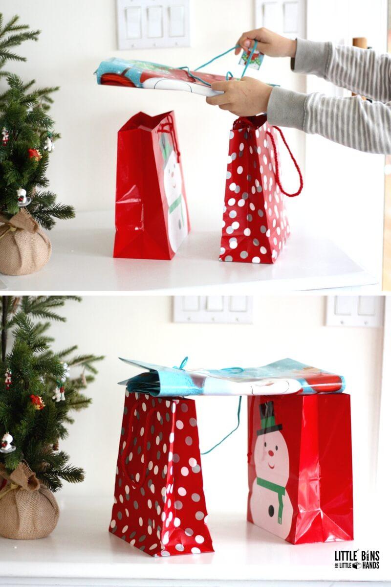 Christmas Gift Bag Bridge Engineering Challenge for Kids