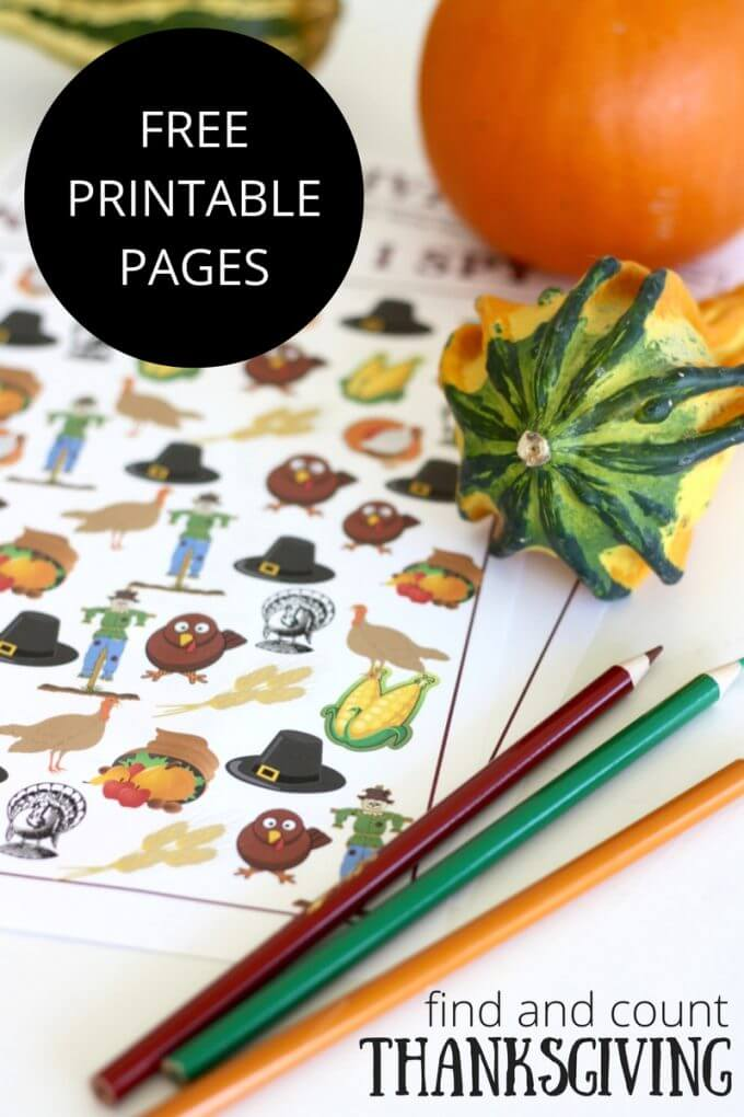 Free Thanksgiving printable counting search and find activity worksheet
