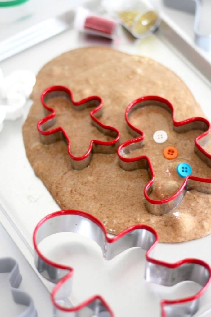 Gingerbread slime with gingerbread cookie cutters!