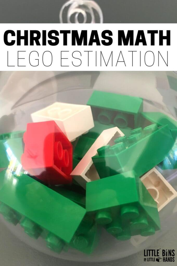 Christmas Math LEGO Estimation Activity with Ornaments