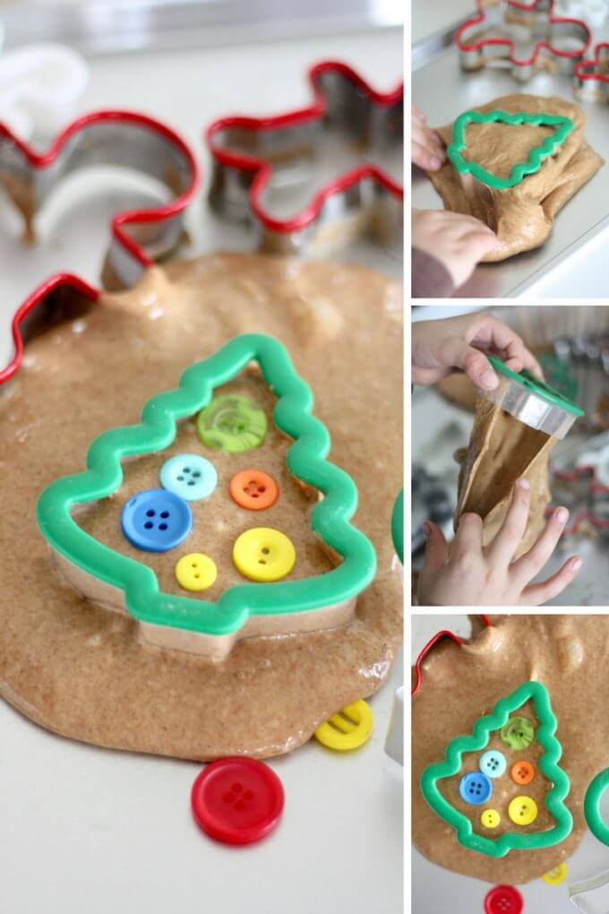 Gingerbread Slime with Christmas Cookie Cutters